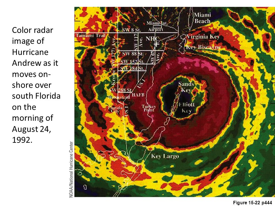 Figure 15-22 p444 Color radar image of Hurricane Andrew as it moves on- shore over south Florida on the morning of August 24, 1992.