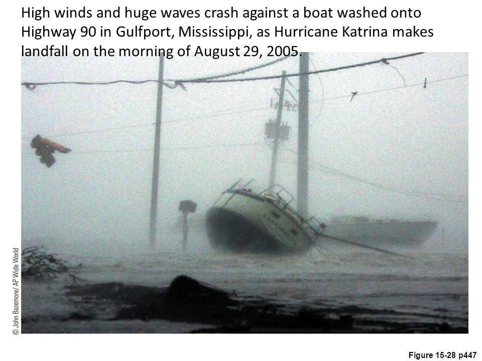 Figure 15-28 p447 High winds and huge waves crash against a boat washed onto Highway 90 in Gulfport, Mississippi, as Hurricane Katrina makes landfall on the morning of August 29, 2005.
