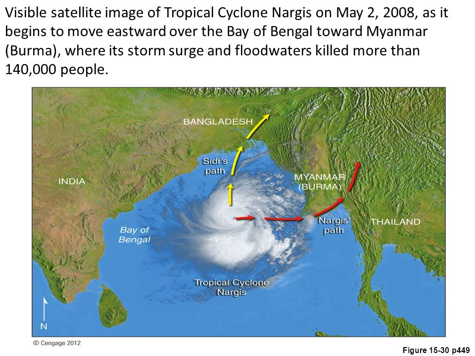 Figure 15-30 p449 Visible satellite image of Tropical Cyclone Nargis on May 2, 2008, as it begins to move eastward over the Bay of Bengal toward Myanm