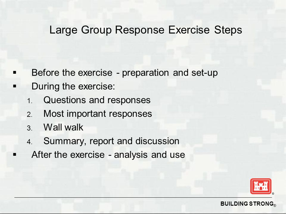 BUILDING STRONG ® Large Group Response Exercise Preparation and Set-up  Scope exercise  Develop exercise schedule  Prepare exercise questions  Prepare response sheets  Review meeting site  Select moderator, prepare presentation  Enlist support team  Obtain materials and supplies  Set-up before meeting