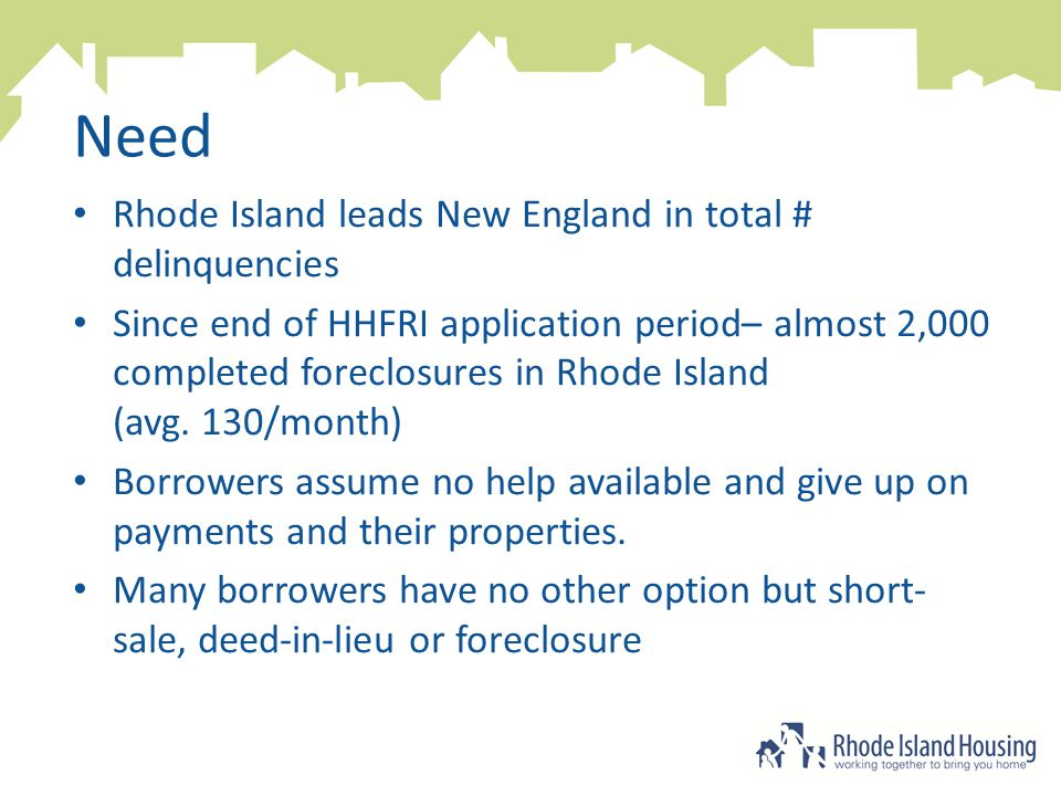 Need Rhode Island leads New England in total # delinquencies Since end of HHFRI application period– almost 2,000 completed foreclosures in Rhode Island (avg.