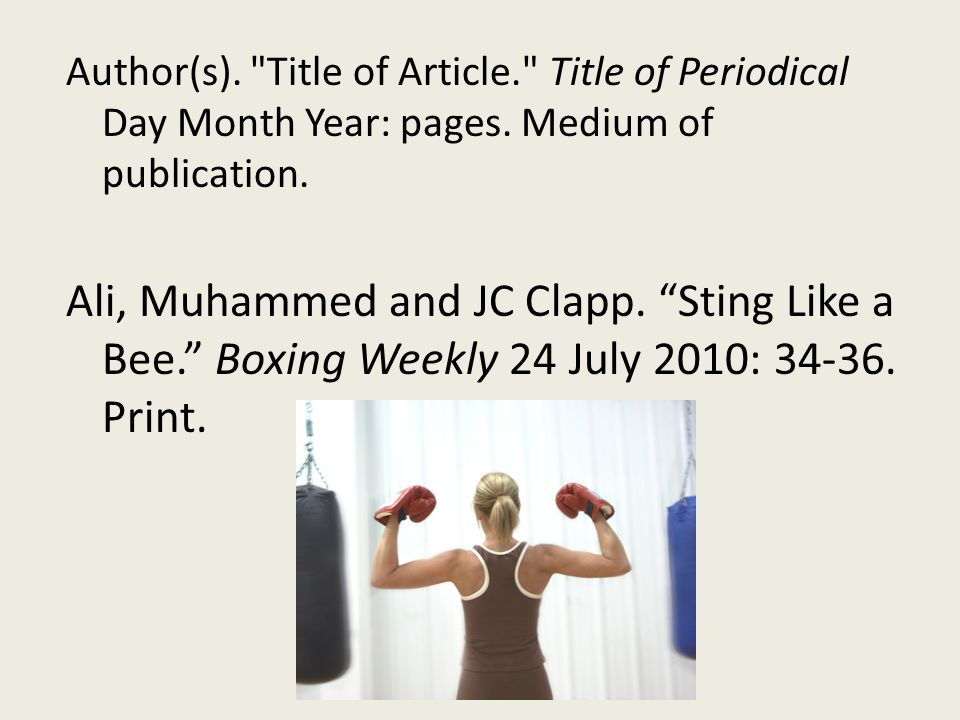 Author(s). Title of Article. Title of Periodical Day Month Year: pages.