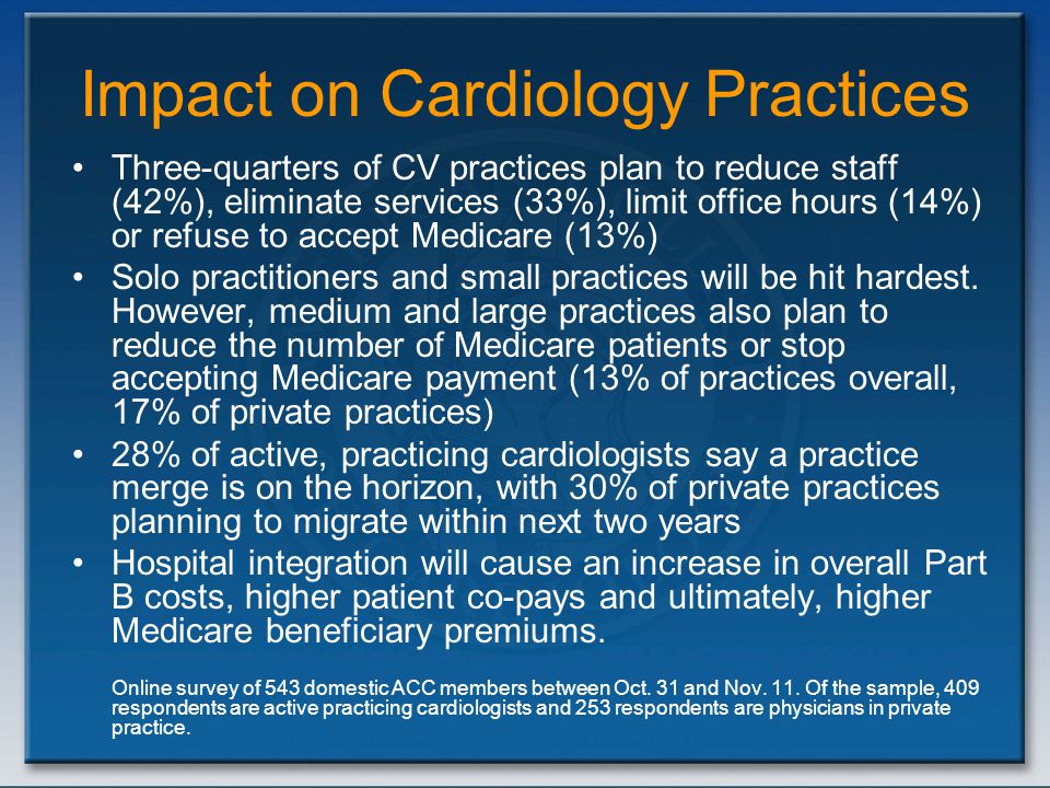Impact on Cardiology Practices Three-quarters of CV practices plan to reduce staff (42%), eliminate services (33%), limit office hours (14%) or refuse