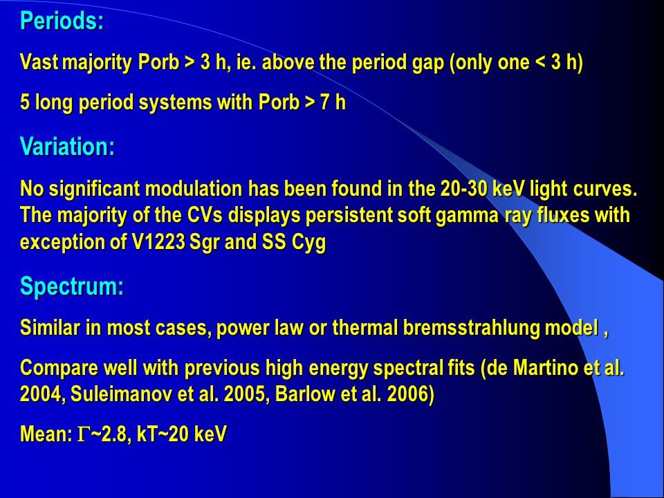 Periods: Vast majority Porb > 3 h, ie. above the period gap (only one 3 h, ie.