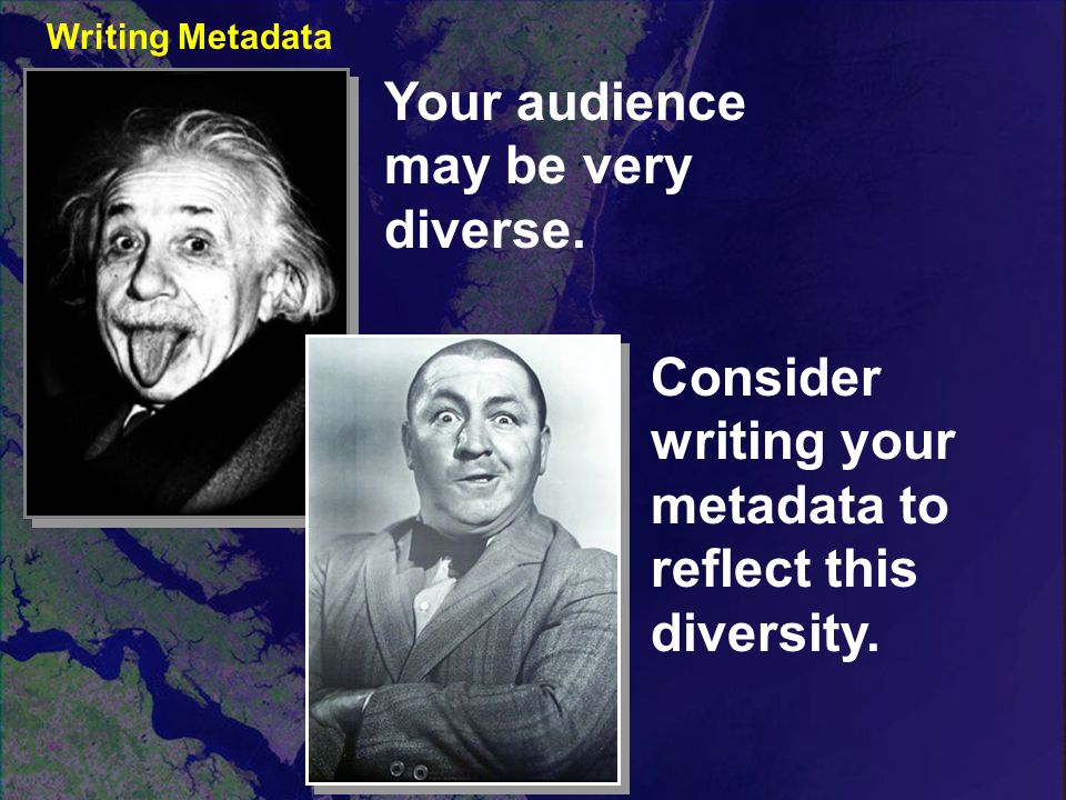 Your audience may be very diverse. Consider writing your metadata to reflect this diversity.