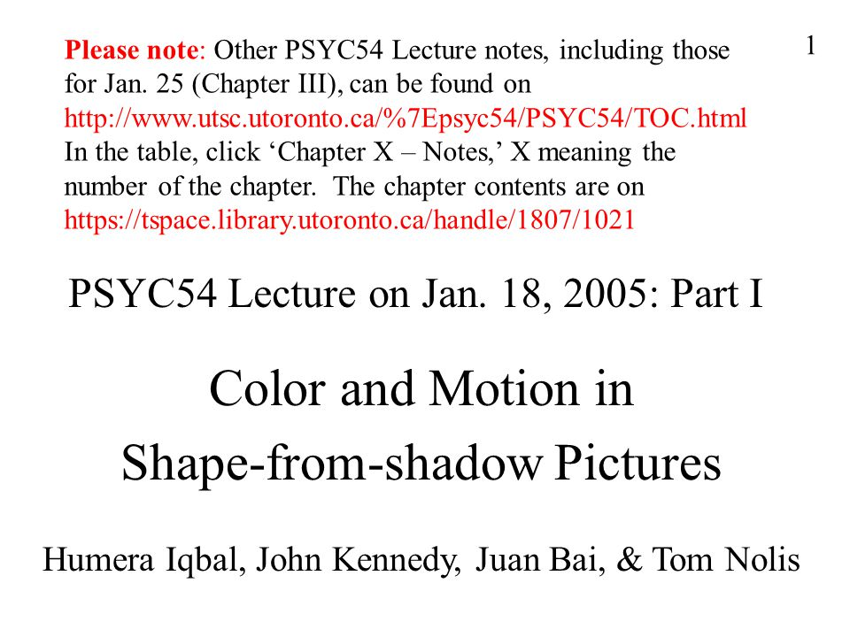 1 PSYC54 Lecture on Jan.