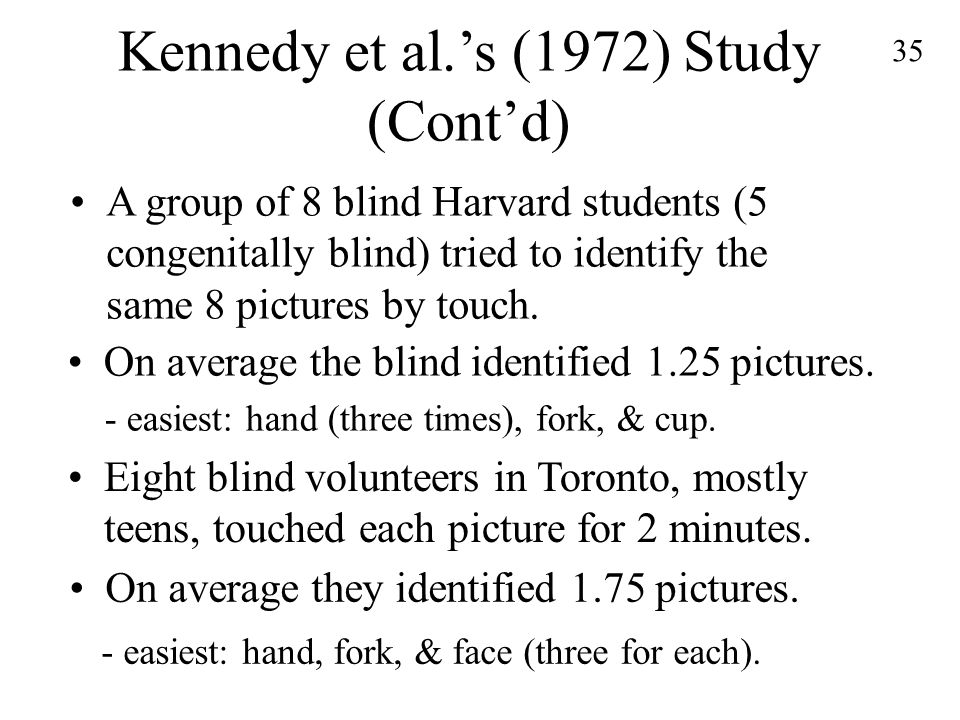 35 Kennedy et al.'s (1972) Study (Cont'd) A group of 8 blind Harvard students (5 congenitally blind) tried to identify the same 8 pictures by touch.