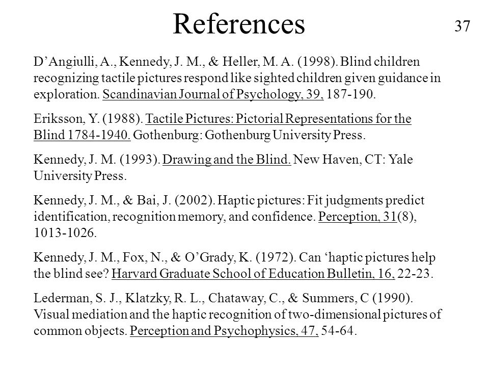 37 References D'Angiulli, A., Kennedy, J. M., & Heller, M.