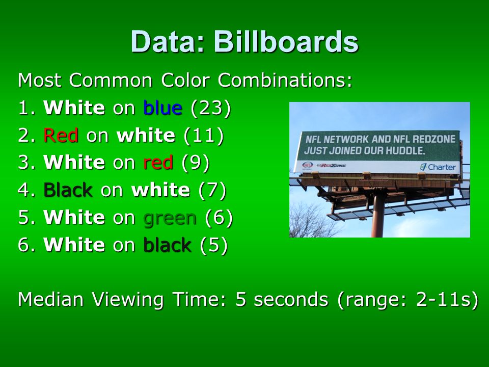 Data: Billboards Most Common Color Combinations: 1.