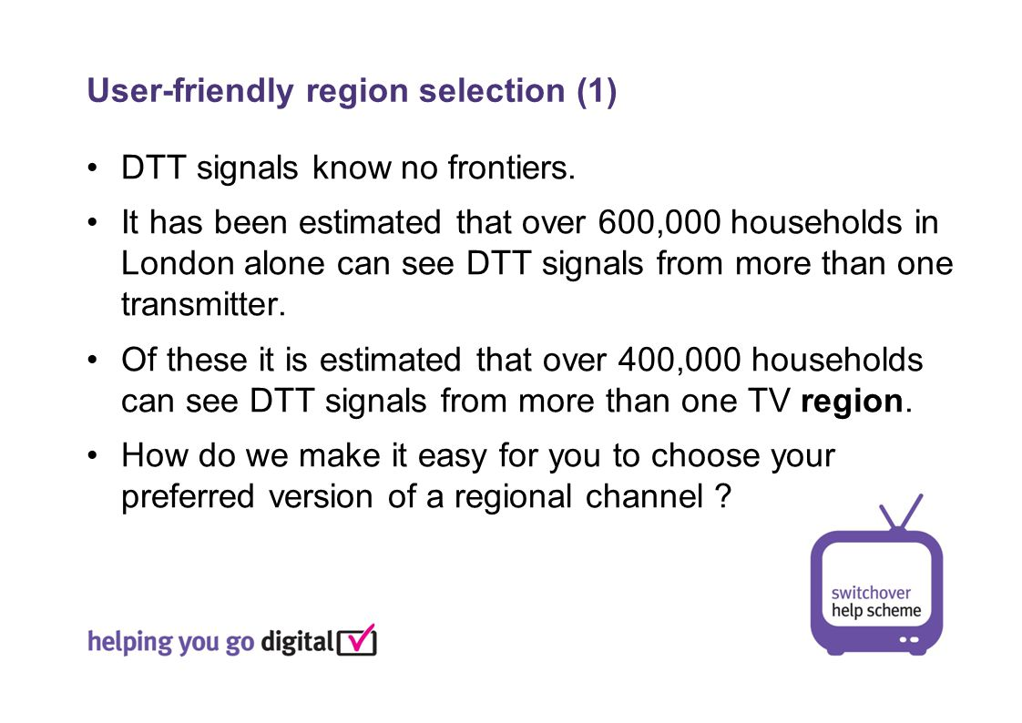 User-friendly region selection (1) DTT signals know no frontiers.