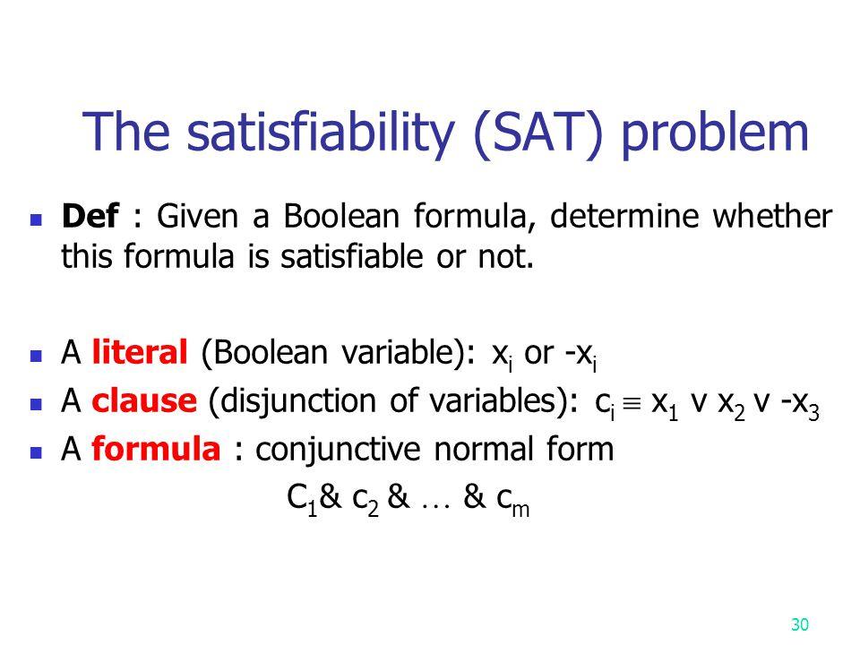 Some known NPC problems SAT problem 3SAT problem 0/1 knapsack problem Traveling salesperson problem Partition problem Art gallery problem Clique probl