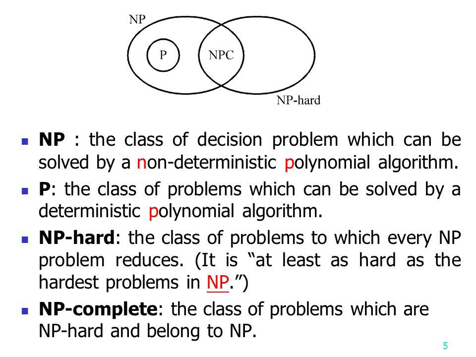 4 NP P NPC NP: Non-deterministic Polynomial P: Polynomial NPC: Non-deterministic Polynomial Complete P=NP?