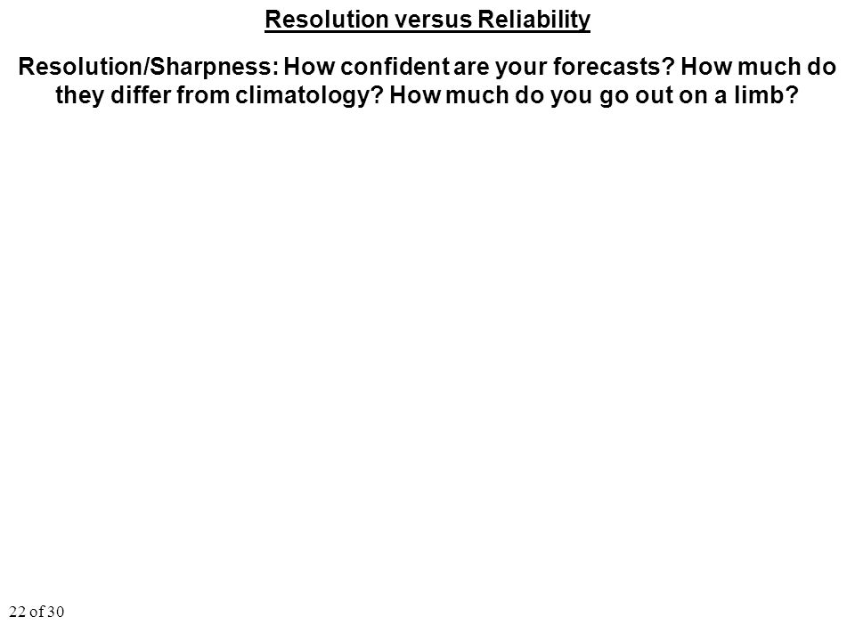 22 of 30 Resolution versus Reliability Resolution/Sharpness: How confident are your forecasts? How much do they differ from climatology? How much do y