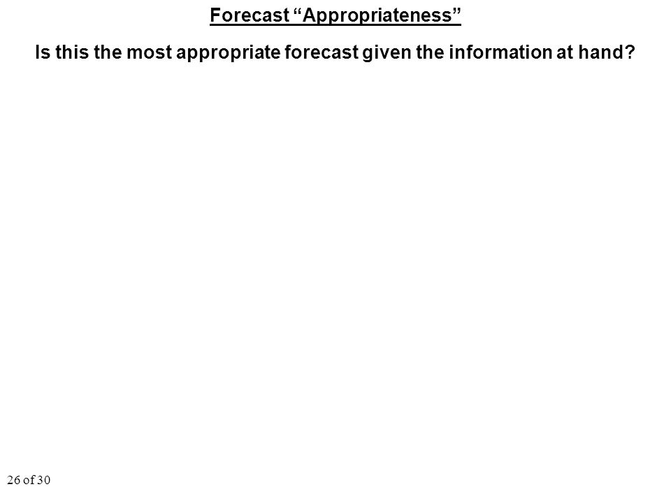 "26 of 30 Forecast ""Appropriateness"" Is this the most appropriate forecast given the information at hand?"
