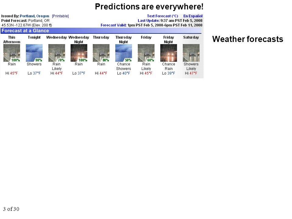 4 of 30 Predictions are everywhere! Weather forecasts Climate forecasts