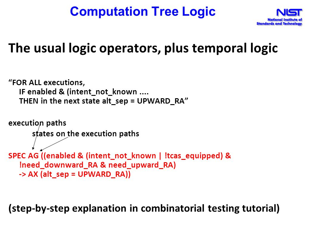 Computation Tree Logic The usual logic operators, plus temporal logic FOR ALL executions, IF enabled & (intent_not_known....