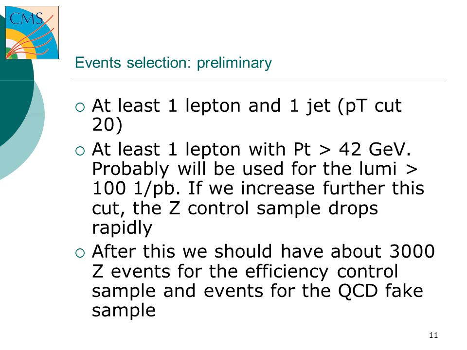 11 Events selection: preliminary  At least 1 lepton and 1 jet (pT cut 20) ‏  At least 1 lepton with Pt > 42 GeV.