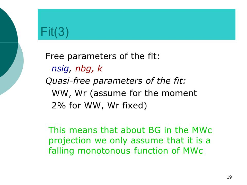 19 Fit(3)‏ Free parameters of the fit: nsig, nbg, k Quasi-free parameters of the fit: WW, Wr (assume for the moment 2% for WW, Wr fixed) ‏ This means that about BG in the MWc projection we only assume that it is a falling monotonous function of MWc