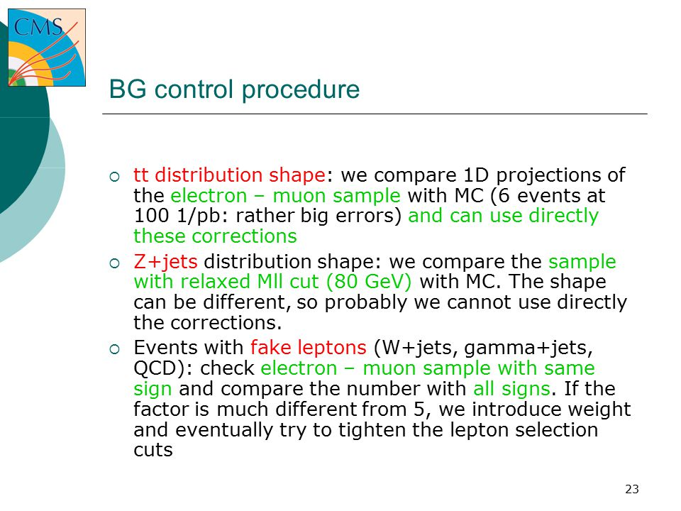 23 BG control procedure  tt distribution shape: we compare 1D projections of the electron – muon sample with MC (6 events at 100 1/pb: rather big errors) and can use directly these corrections  Z+jets distribution shape: we compare the sample with relaxed Mll cut (80 GeV) with MC.