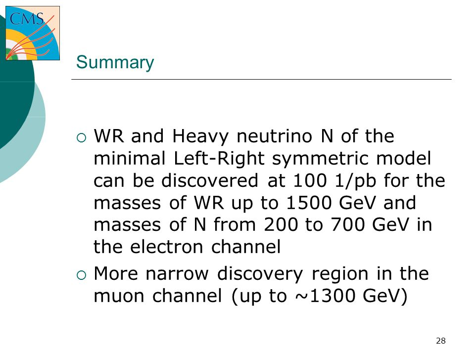 28 Summary  WR and Heavy neutrino N of the minimal Left-Right symmetric model can be discovered at 100 1/pb for the masses of WR up to 1500 GeV and masses of N from 200 to 700 GeV in the electron channel  More narrow discovery region in the muon channel (up to ~1300 GeV) ‏