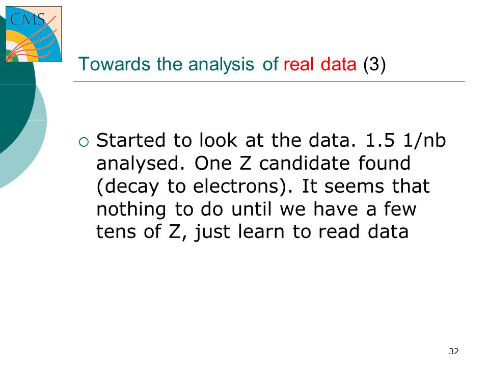 32 Towards the analysis of real data (3)‏  Started to look at the data.
