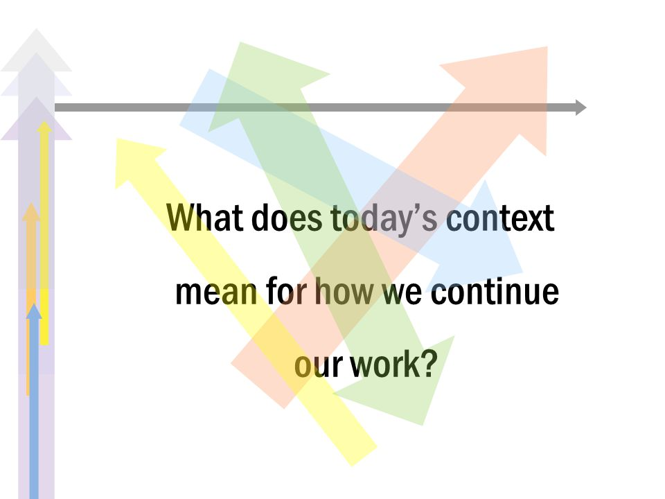 What does today's context mean for how we continue our work?