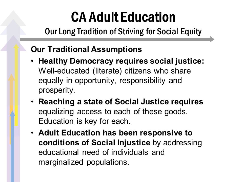 CA Adult Education Our Long Tradition of Striving for Social Equity Our Traditional Assumptions Healthy Democracy requires social justice: Well-educated (literate) citizens who share equally in opportunity, responsibility and prosperity.