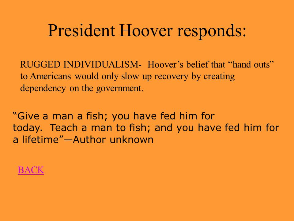 Thank you, Mr. Hoover 1 st Response - Against Direct Relief from gov't.