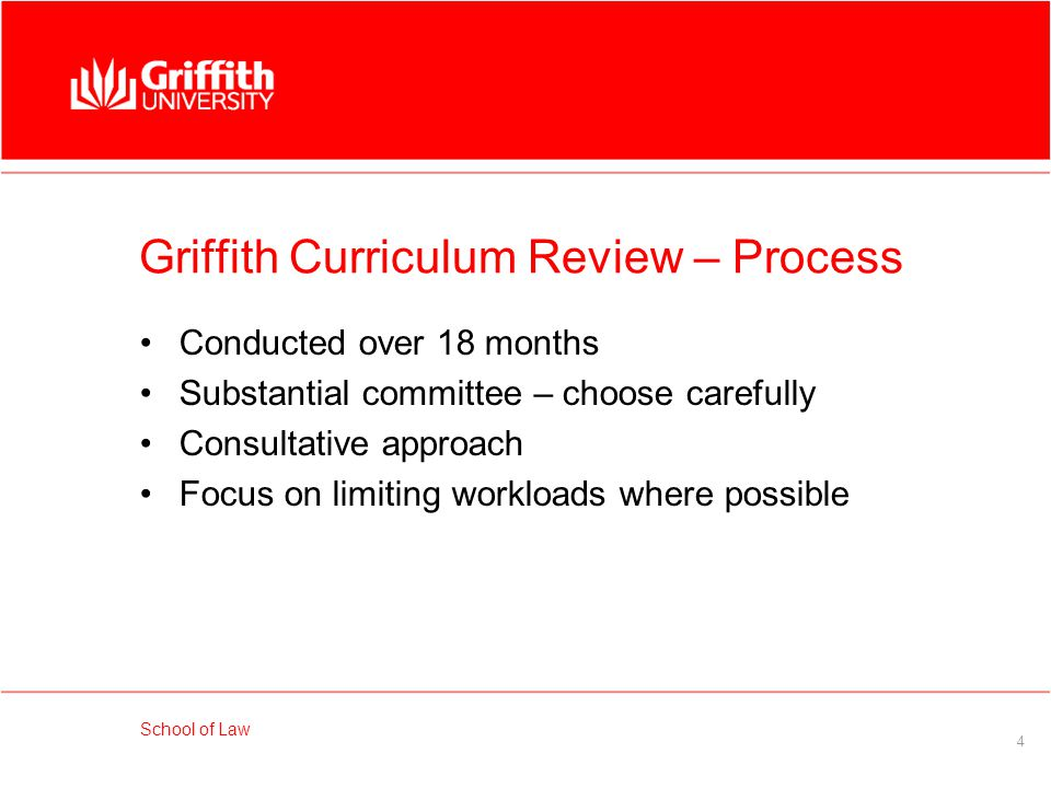 School of Law 5 Griffith Curriculum Review – Process Consultations with students Consultations with members of the profession