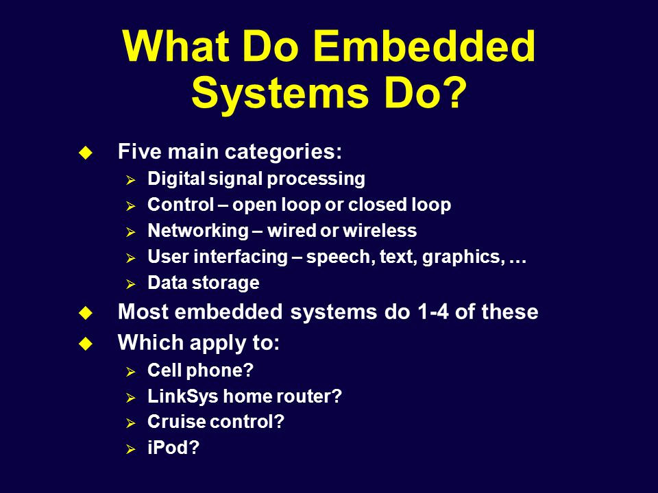 What Do Embedded Systems Do.