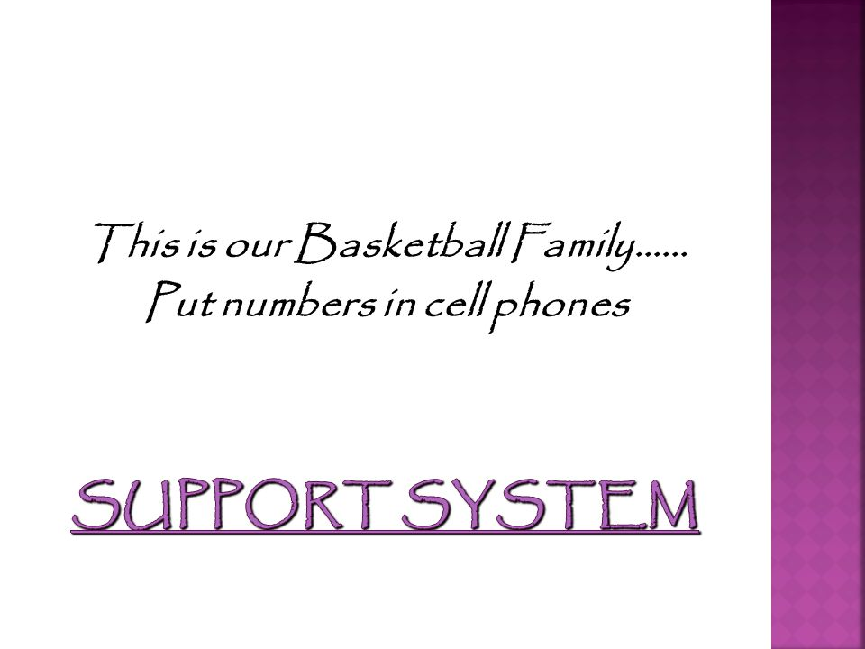 This is our Basketball Family…… Put numbers in cell phones