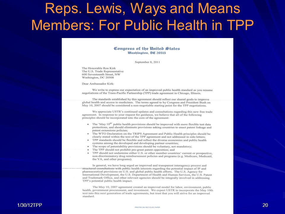 1/30/12TPP20 Reps. Lewis, Ways and Means Members: For Public Health in TPP