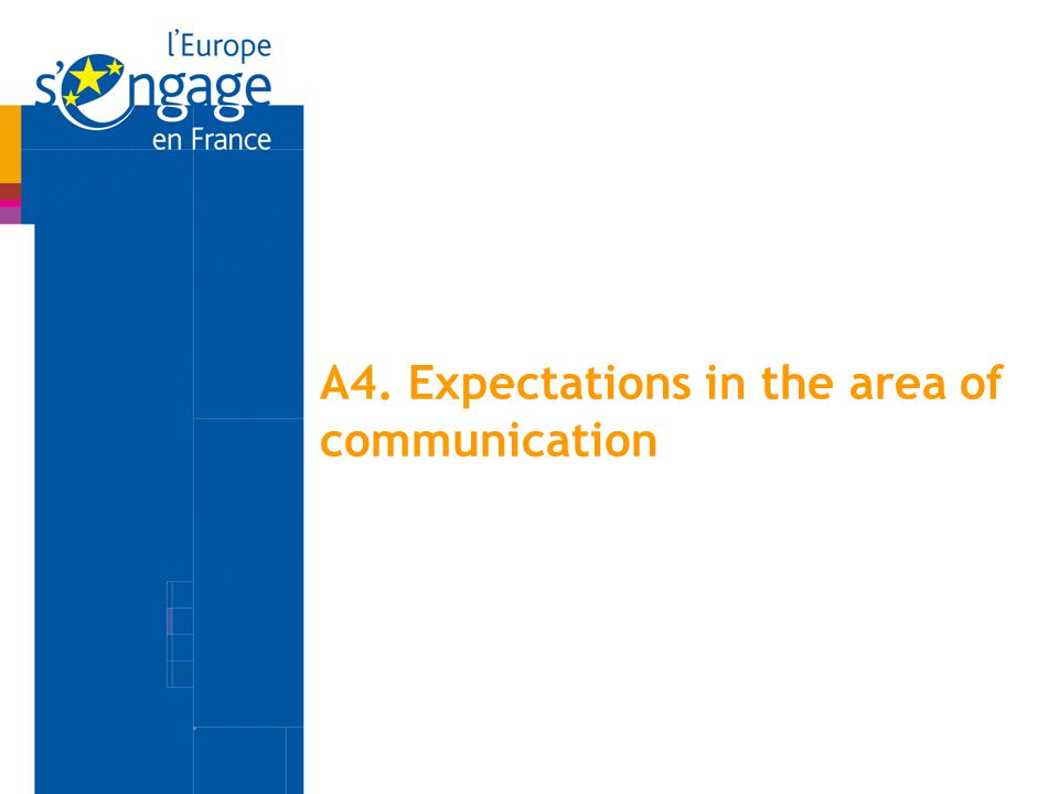 A4. Expectations in the area of communication