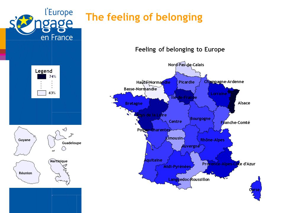 Legend Feeling of belonging to Europe The feeling of belonging