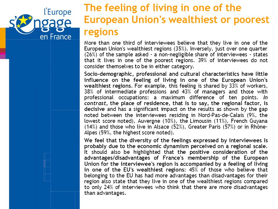 The feeling of living in one of the European Union's wealthiest or poorest regions More than one third of interviewees believe that they live in one o