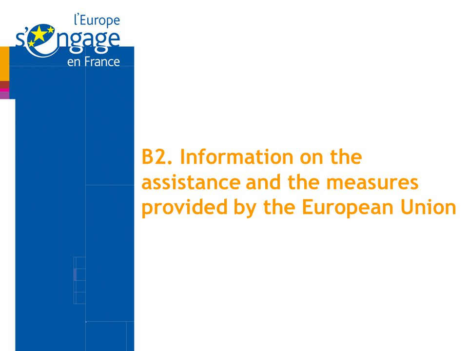 B2. Information on the assistance and the measures provided by the European Union