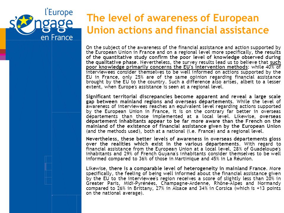 On the subject of the awareness of the financial assistance and action supported by the European Union in France and on a regional level more specific