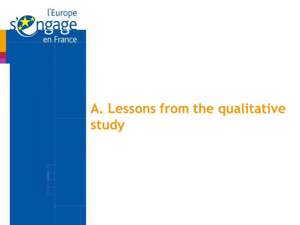 A. Lessons from the qualitative study
