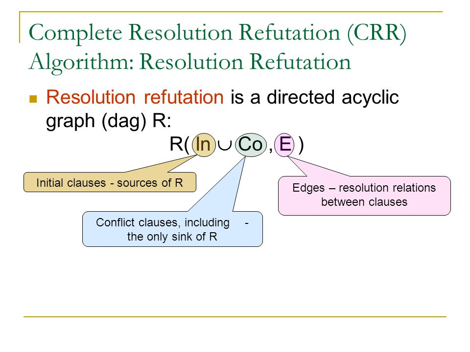 Complete Resolution Refutation (CRR) Algorithm: Resolution Refutation Resolution refutation is a directed acyclic graph (dag) R: R( In  Co, E ) Initial clauses - sources of R Conflict clauses, including  - the only sink of R Edges – resolution relations between clauses