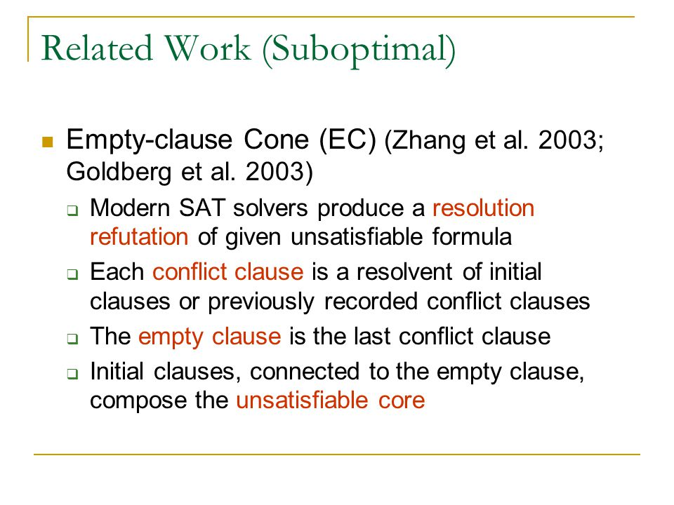Related Work (Suboptimal) Empty-clause Cone (EC) (Zhang et al.