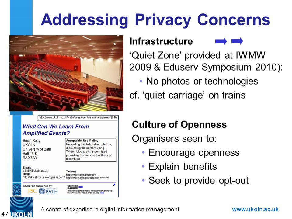A centre of expertise in digital information managementwww.ukoln.ac.uk Addressing Privacy Concerns Infrastructure 'Quiet Zone' provided at IWMW 2009 & Eduserv Symposium 2010): No photos or technologies cf.