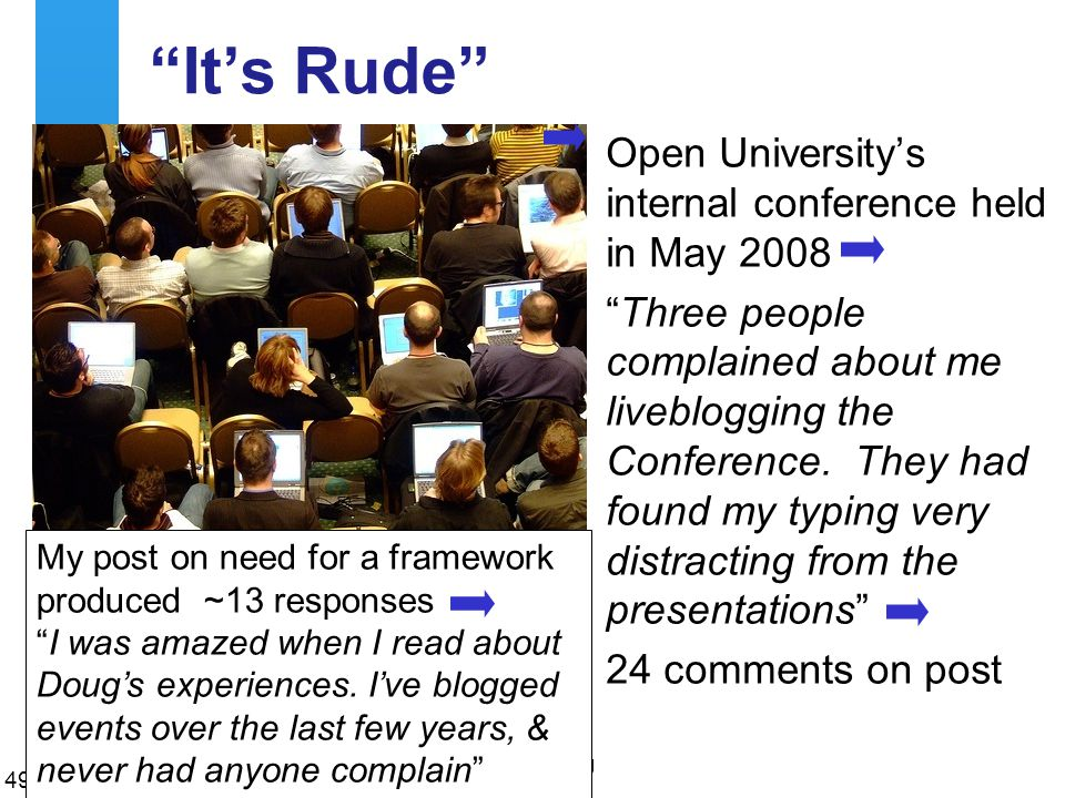 A centre of expertise in digital information managementwww.ukoln.ac.uk It's Rude Open University's internal conference held in May 2008 Three people complained about me liveblogging the Conference.