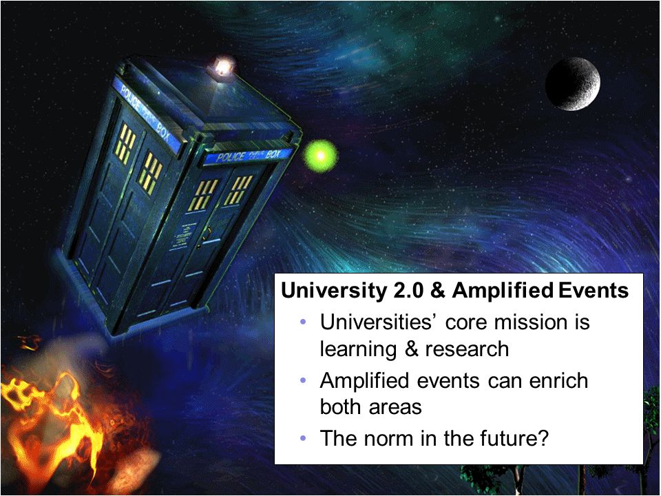 A centre of expertise in digital information managementwww.ukoln.ac.uk Revisiting the Future 71 University 2.0 & Amplified Events Universities' core mission is learning & research Amplified events can enrich both areas The norm in the future