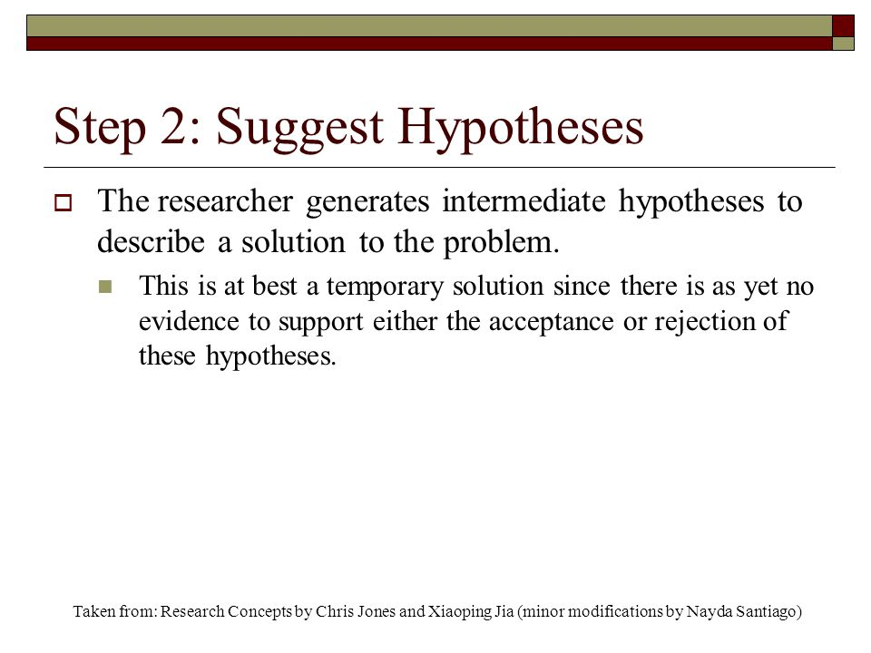 Step 2: Suggest Hypotheses  The researcher generates intermediate hypotheses to describe a solution to the problem.
