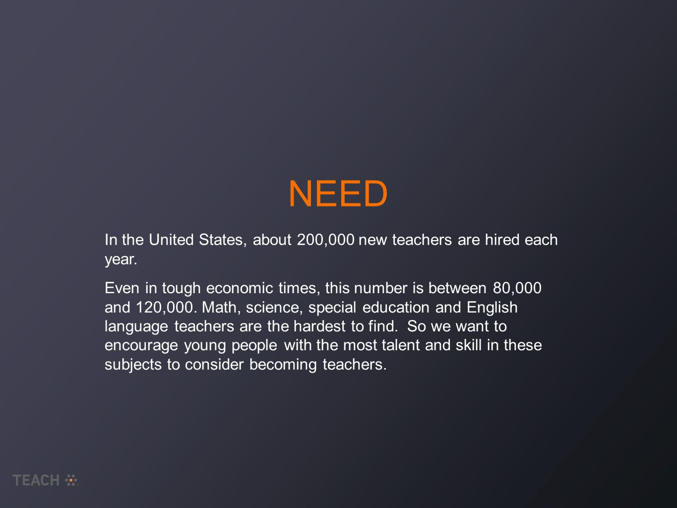 NEED In the United States, about 200,000 new teachers are hired each year.