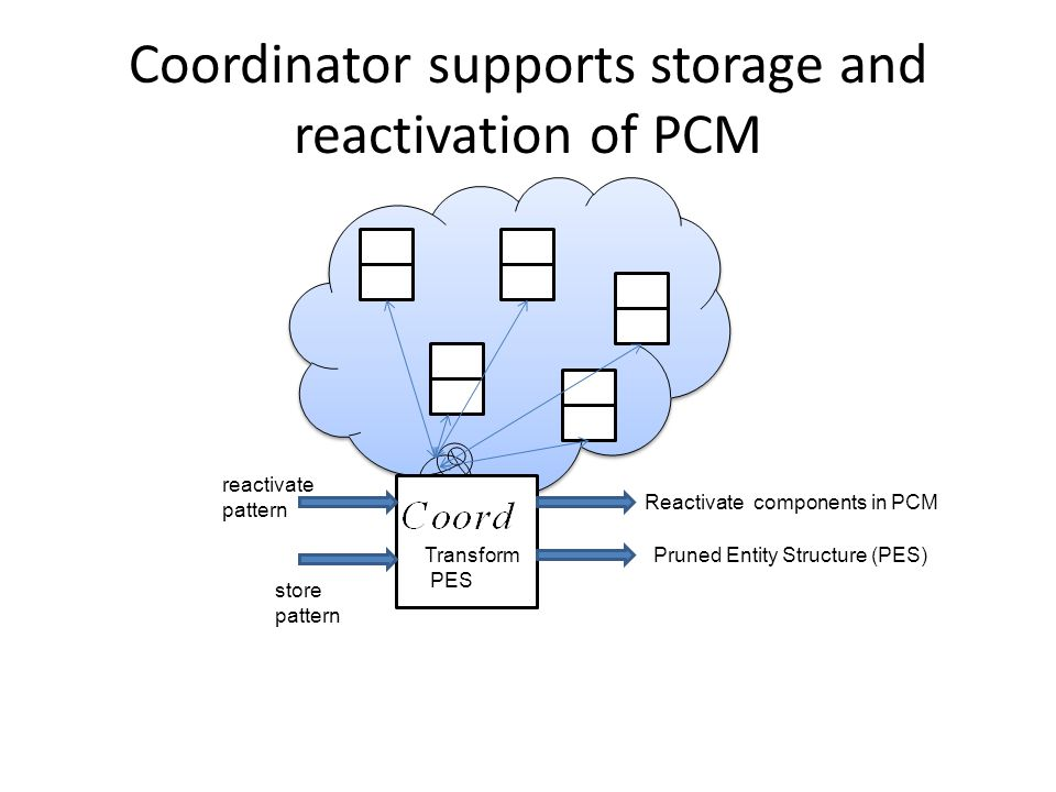 Coordinator supports storage and reactivation of PCM store pattern reactivate pattern Pruned Entity Structure (PES)Transform PES Reactivate components