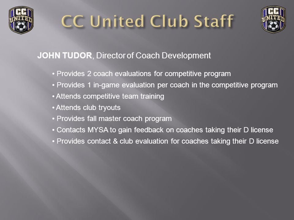 JOE SZORSCIK, Assistant Director of coaching Provides support to the DOC Provides support to team for session coverage Available for team goalkeeper sessions Assists iSoccer program Member of the tryout evaluation staff Coordinates Club volunteers Schedules winter training space for competitive program Updates Club members on field status Develops youth goalkeeper coach training program Organizes fall winter and summer goalkeeping clinics Team preparation manager Organizes Futsal league