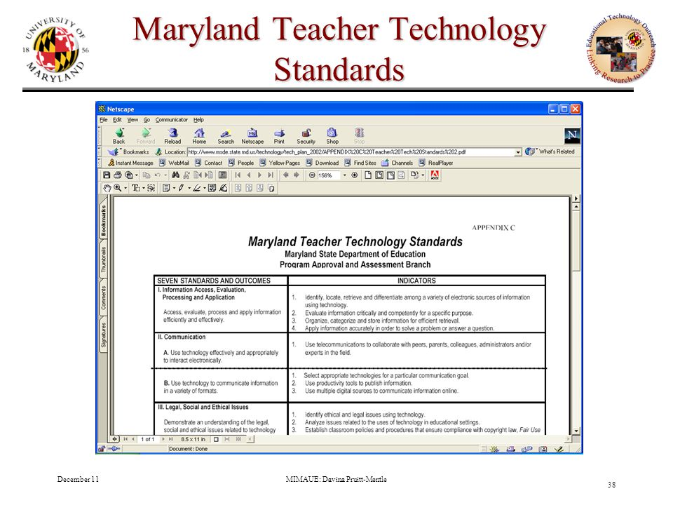 December 11MIMAUE: Davina Pruitt-Mentle 38 Maryland Teacher Technology Standards