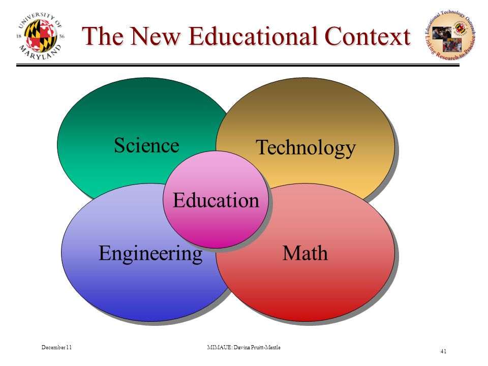 December 11MIMAUE: Davina Pruitt-Mentle 41 The New Educational Context Science Engineering Technology Math Education