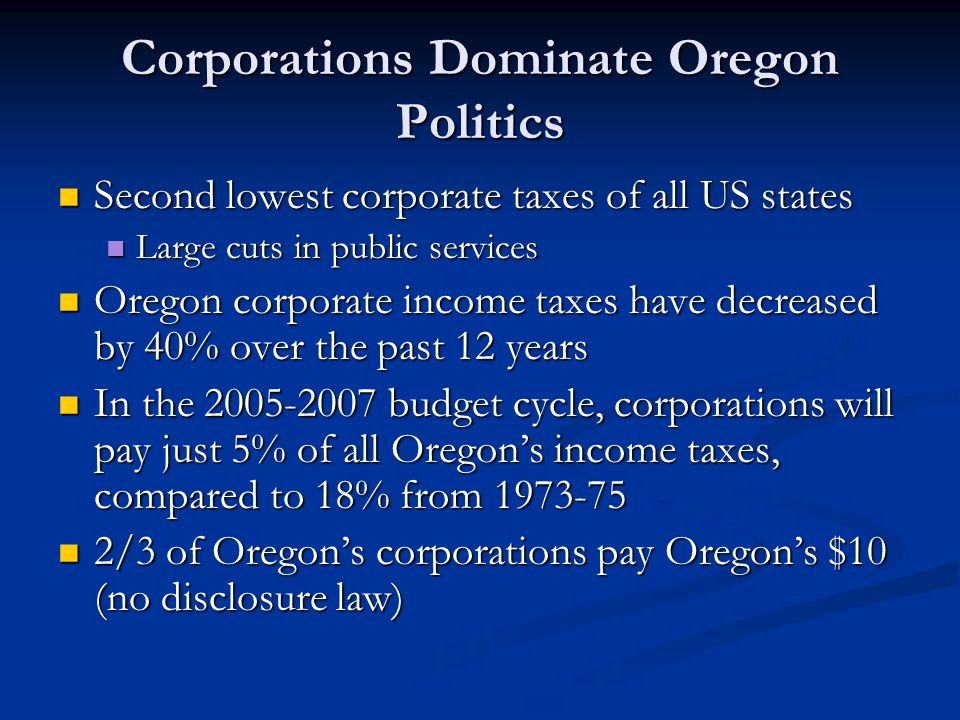 Corporations Dominate Oregon Politics Second lowest corporate taxes of all US states Second lowest corporate taxes of all US states Large cuts in public services Large cuts in public services Oregon corporate income taxes have decreased by 40% over the past 12 years Oregon corporate income taxes have decreased by 40% over the past 12 years In the 2005-2007 budget cycle, corporations will pay just 5% of all Oregon's income taxes, compared to 18% from 1973-75 In the 2005-2007 budget cycle, corporations will pay just 5% of all Oregon's income taxes, compared to 18% from 1973-75 2/3 of Oregon's corporations pay Oregon's $10 (no disclosure law) 2/3 of Oregon's corporations pay Oregon's $10 (no disclosure law)